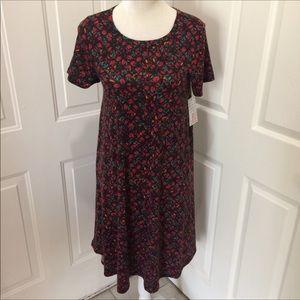 Lularoe NWT Red Green  Floral Leaf Carly Dress XS
